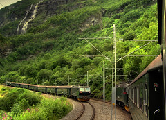 Hanging out of the train! (Bn) Tags: topf25 norway railway bec soe breathtaking flm myrdal 20km wildest mountainstation steepest blueribbonwinner supershot scanery 35faves 25faves bergenrailway anawesomeshot diamondclassphotographer flmbana betterthangood hangingoutforthebestshot trainyourney incredibletrainjourney theflmrailway kjosfosswaterfall magnificentscenery