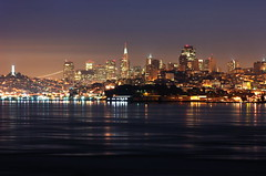 San Francisco Skyline at Night - 7.365 (2 seasons) Tags: sanfrancisco reflection skyline nikon d70s coittower transamerica nikkor nocturne project365 80200mmf28 jungyul wwwjungyulcom