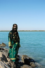 Lovely Bandari Girl (Hamed Saber) Tags: sea green girl scarf island golden persian iran traditional hijab mangrove  mahsa beatiful burqa persiangulf qeshm bandarabbas sakaki hormozgan    bandari ghesm   flickr:user=deathlessness deathlessness   upcoming:event=418807  borqa harrajungle   marineforest