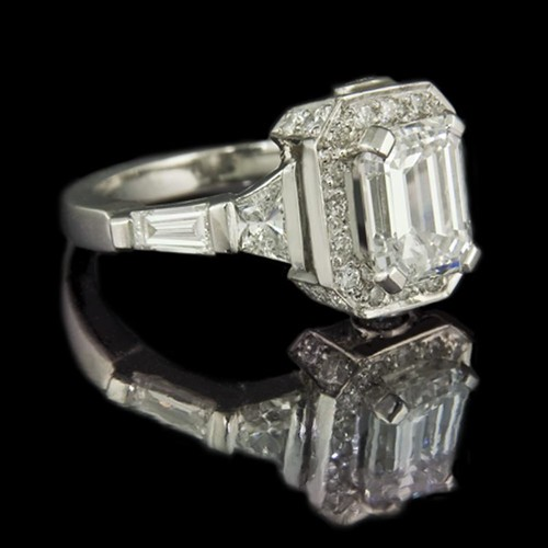 Jeweller in London Emerald cut diamond engagement ring