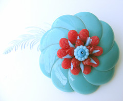 Blue and Red Vintage Flowers Brooch