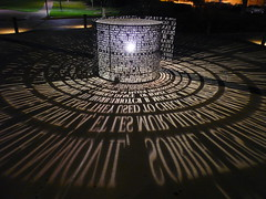 Light Sculpture (mlsnp) Tags: longexposure college campus university texas shot tx houston symmetry explore symmetrical universityofhouston uofh lightsculpture noflashnightshot lenshouston
