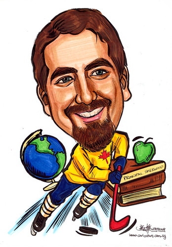 Caricature Cornell University hockey player principal scholar