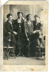 Four guys from Minnesota posing with due respect for symmetry (bootpainter) Tags: 1920s bootpainter kerkhoven minnesota rppc lmerryman