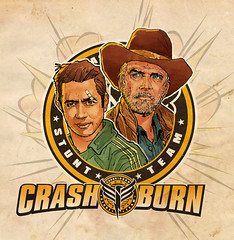 Crash & Burn (The Searcher) Tags: portrait art television illustration logo tv team comedy crash derek burn pilot stunt tonyhawk leemajors crashburn chatwood poprelics lancekrall