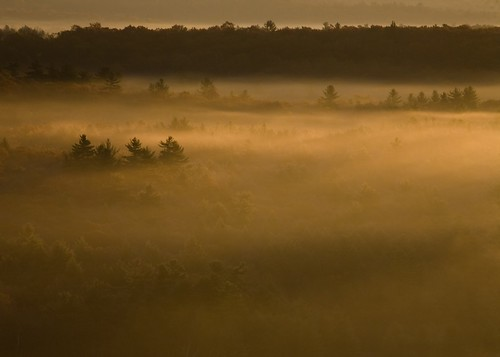 Sunrise on the Shepaug River Valley with Morning Fog