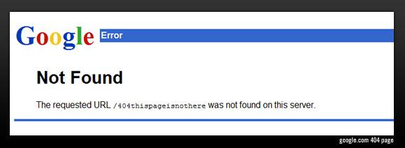 Google.com 404 error page