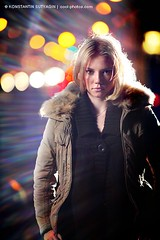 Happy mistake (Konstantin Sutyagin) Tags: city winter girl beautiful night pretty bokeh teen flare mistake strobist