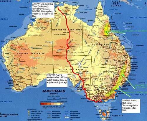 Route map, Australia.