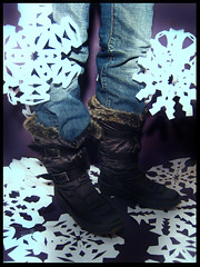 No Snow in Philly... (blonde_sage) Tags: snow snowflakes boots jeans buckles pajar papersnowflakes futab