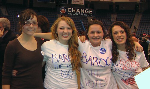 Tattoo photo. Teens at a Hartford rally for Barack Obama: (left to right)