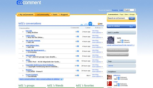 Screenshot of coComment user comments
