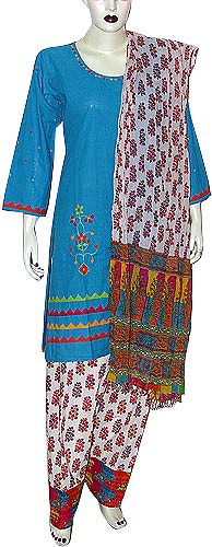 Salwar Kameez Suit from India Cotton Embroidered Knee