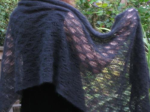 back of black lace stole