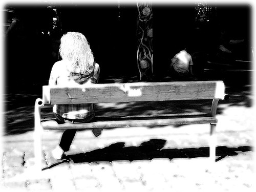 girl on a bench at the Wiener Wursteprater