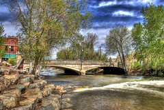 F Street Bridge, Salida, Colorado (Thad Roan - Bridgepix) Tags: bridge blue trees sky building water architecture clouds river concrete colorado rocks arch crossing arches historic explore salida span hdr arkansasriver bridging fst fstreet chaffeecounty nationalregisterofhistoricplaces photomatix 200805 nrhp bridgepixing bridgepix luten 85000192