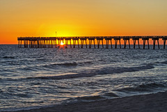 Colors of Sunset (lightonthewater) Tags: panamacitybeach pier ocean gulfofmexico sand sky sunset orange sun florida waves water