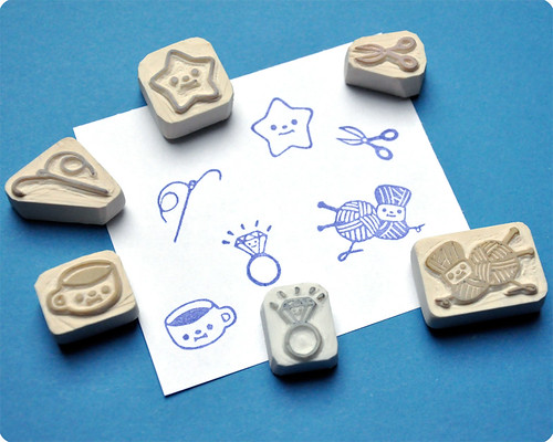Hand carved rubber stamps for Charlotte