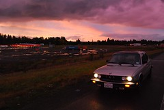Looking Northwest (lumachrome) Tags: sunset sky clouds i5 bmw fishes petro e28 528e