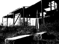derelict  barn (~ paddypix ~) Tags: blackandwhite photoshop buildings decay angles picasa specialeffects moodyblues bwdreams ukandireland iusedpicasa
