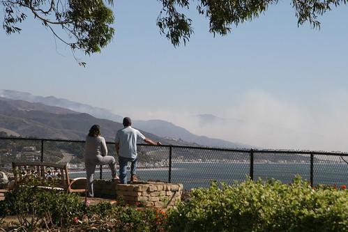 Couple viewing the smoke