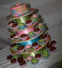 Baby Emma Grace Cupcake Tower (mandotts) Tags: pink blue green cupcakes teal polkadots babygirl babyshower sugarpaste customcupcakestand fondantballs