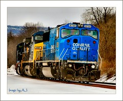 Big Blue Beauty (Images by A.J.) Tags: railroad winter horse snow art train md iron artistic snowy engine maryland rail railway trains brunswick explore engines transportation locomotive freight csx conrail wintry  emd  csxt   explored