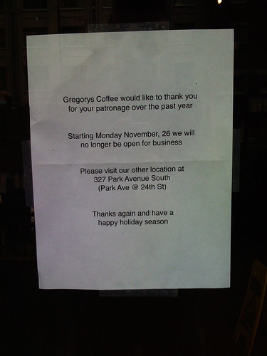 Gregory's Coffee is Closed