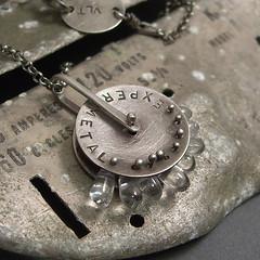 N421- prototype charm (victoria takahashi / experimetal) Tags: movement jewelry charm etsy quartz pendant brushed nacklace oxidized experimetal sterlingsilver