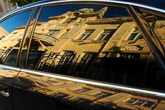 Old in new (Rafal Bergman) Tags: old reflection building window glass car yellow facade poland polska front audi tenement warszawska samochd bialystok biaystok odbicie podlaskie ulica szyba mywinners