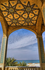 Ceilings: Sky and Mosque, Kish Island, Persian Gulf, Iran (Persia) (eshare) Tags: sea sky architecture clouds landscape persian arch iran patterns persia arches mosque kish iranian  hdr highdynamicrange mosques persiangulf  kishisland       sonyalphadslra100 sal1870  photofaceoffwinner dphdr pfosilver    lpceilings