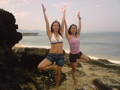 doing yoga on a beach in Pagudpud