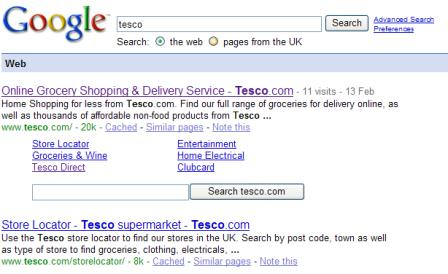 Tesco Google search