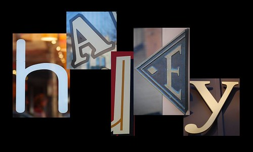 H-A-L-E-Y spelled out in a collage of letters