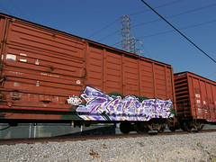 "NIGHT ""Work Related"" (TRUE 2 DEATH) Tags: railroad streetart night train graffiti tag graf railcar boxcar anaheim railways railfan freight workrelated benching"