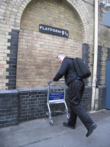 Tristan disappearing on Platform 9 3/4, as per Harry potter