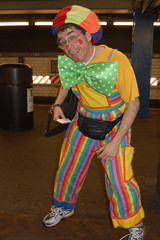 scary clown on train