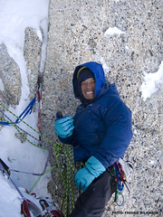 Freddie's new Japanese friend, hanging out on the Moonflower Buttress, Mt. Hunter. (Mountain Hardwear) Tags: alaska climbing mountaineering alpinism mountainhardwear kahiltna mthunter freddiewilkinson