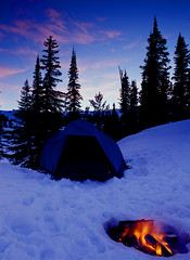 tent with campfire in snow (sawtoothphoto) Tags: trees winter sunset camp mountain snow cold clouds trek snowshoe outdoors fire climb twilight freezing tent hike campfire pines wintersports crosscountryski wintercamping backcountryskiing winteractivity