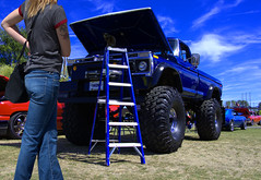 It's A Monster (swong95765) Tags: kitty cat ladder monster truck woman female lady blonde line