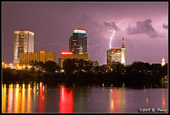 Thunderstorm in Springfield (R. Parent Photography) Tags: storm rain ma massachusetts thunderstorm springfield lightning connecticutriver downtownspringfield