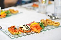 Antipasto - bruschetta, caprese salad, parma ham, smoked salmon, suppli, calamari rings, Ricciotti