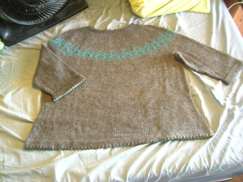 The entire sweater blocking.