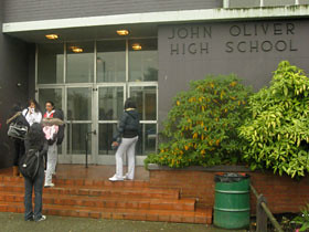 Students outside John Oliver Secondary in Southeast Vancouver.