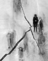 Shibboleth: Ghost (Parthurpics) Tags: people bw white motion black blur london art movement floor ghost tatemodern crack crowds shibboleth