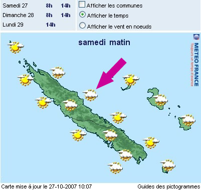 Carte meteo 27 oct