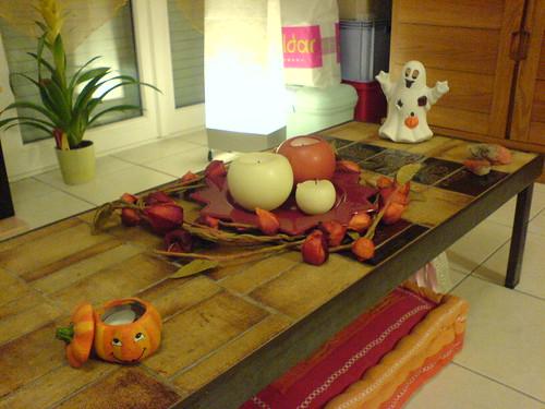 Table basse décorée pour Halloween