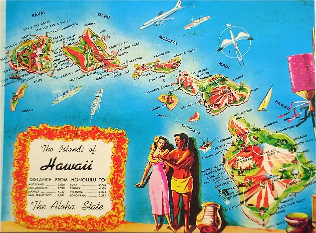 The Islands of Hawaii map postcard