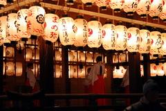 Strange Happenings On The Stage (Jon Christall) Tags: japan night kyoto shrine nightshot stage lanterns gion shintoshrine yasakashrine chinesecharacters yasaka japaneselanterns japanesecharacters gionshrine