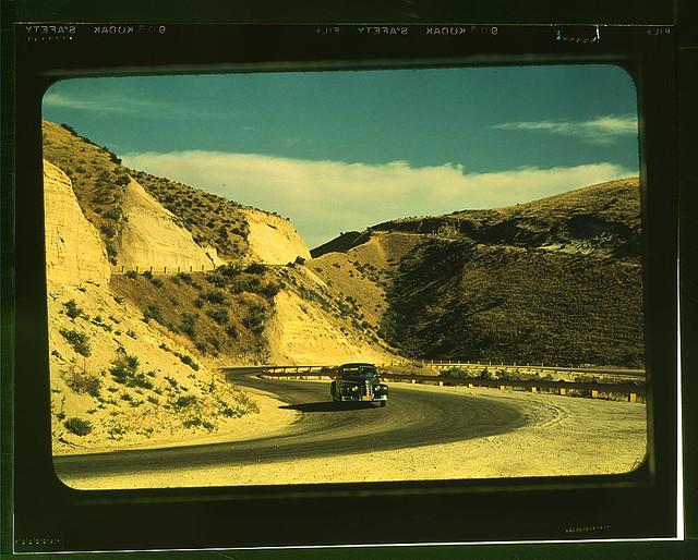 Road cut into the barren hills which lead into Emmett, Idaho (LOC)
